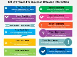 Set Of Frames For Business Data And Information Flat Powerpoint Design