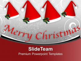 Set Of Santa Claus Hat Winter Holidays PowerPoint Templates PPT Themes And Graphics