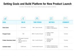 Setting Goals And Build Platform For New Product Launch