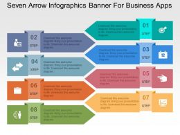 Seven Arrow Infographics Banner For Business Apps Flat Powerpoint Design