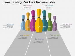 Seven Bowling Pins Data Representation Flat Powerpoint Design