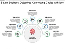 Seven Business Objectives Connecting Circles With Icon