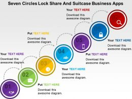 Seven Circles Lock Share And Suitcase Business Apps Flat Powerpoint Design