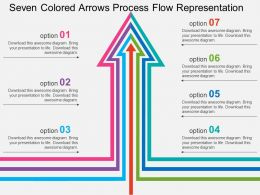 Seven Colored Arrows Process Flow Representation Flat Powerpoint Design