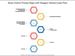 Seven Control Process Steps With Hexagon Vertical Linear Flow
