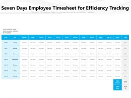 Seven Days Employee Timesheet For Efficiency Tracking