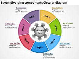 seven diverging components circular diagram Flow Arrow Chart PowerPoint Slides