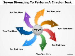 seven diverging steps to perform a circular task Flow Motion Process PowerPoint Slides