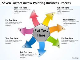 seven factors arrow pointing business process Charts and PowerPoint Slides