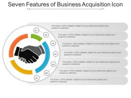 Seven Features Of Business Acquisition Icon Presentation Slides