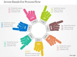 Seven Hands For Process Flow Flat Powerpoint Design