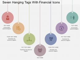 Seven Hanging Tags With Financial Icons Flat Powerpoint Design