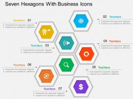 Seven Hexagons With Business Icons Flat Powerpoint Design