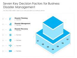Seven Key Decision Factors For Business Disaster Management