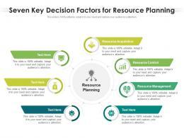 Seven Key Decision Factors For Resource Planning