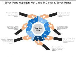 Seven Parts Heptagon With Circle In Center And Seven Hands