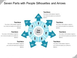 Seven Parts With People Silhouettes And Arrows
