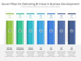 Seven Pillars For Delivering Bi Value In Business Development