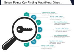 Seven Points Key Finding Magnifying Glass With Key Icon