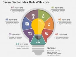 Seven Section Idea Bulb With Icons Flat Powerpoint Design