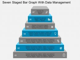 seven_staged_bar_graph_with_data_management_flat_powerpoint_design_Slide01