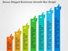 Seven Staged Business Growth Bar Graph Flat Powerpoint Design
