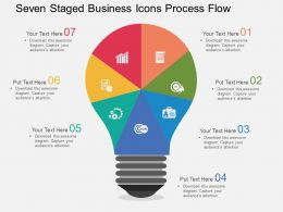 Seven Staged Business Icons Process Flow Flat Powerpoint Desgin