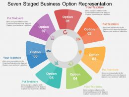 Seven Staged Business Option Representation Flat Powerpoint Design