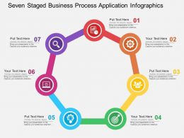 Seven Staged Business Process Application Infographics Flat Powerpoint Design