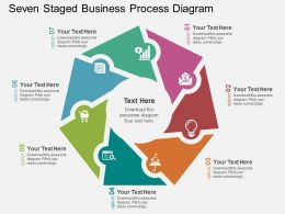 Seven Staged Business Process Diagram Flat Powerpoint Design
