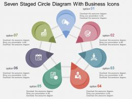Seven Staged Circle Diagram With Business Icons Flat Powerpoint Design