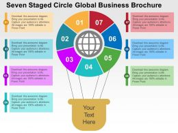 Seven Staged Circle Global Business Brochure Flat Powerpoint Design