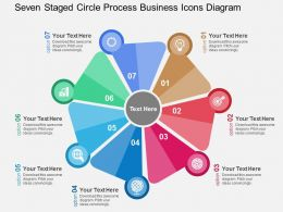 Seven Staged Circle Process Business Icons Diagram Flat Powerpoint Design