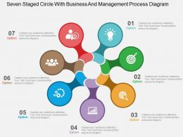 Seven Staged Circle With Business And Management Process Diagram Flat Powerpoint Design