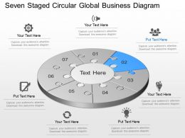 Seven Staged Circular Global Business Diagram Powerpoint Template Slide