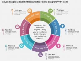 Seven Staged Circular Interconnected Puzzle Diagram With Icons Flat Powerpoint Design
