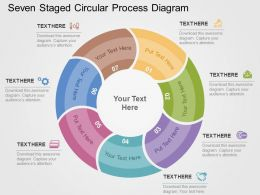 Seven Staged Circular Process Diagram Flat Powerpoint Design