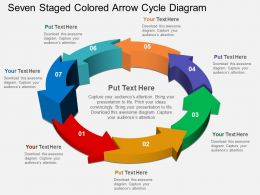 Seven Staged Colored Arrow Cycle Diagram Flat Powerpoint Design