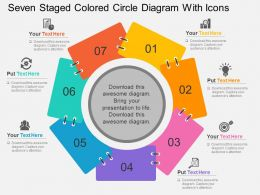 Seven Staged Colored Circle Diagram With Icons Flat Powerpoint Design
