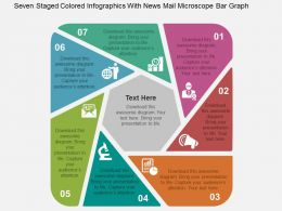 Seven Staged Colored Infographics With News Mail Microscope Bar Graph Flat Powerpoint Design