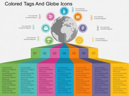 Seven Staged Colored Tags And Globe Icons Ppt Presentation Slides