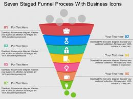 Seven Staged Funnel Process With Business Icons Flat Powerpoint Design