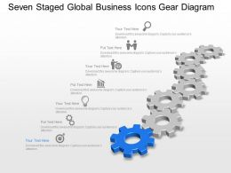 Seven Staged Global Business Icons Gear Diagram Powerpoint Template Slide