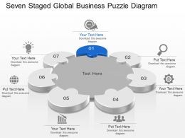 Seven Staged Global Business Puzzle Diagram Powerpoint Template Slide