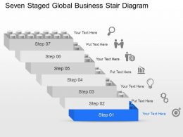 Seven Staged Global Business Stair Diagram Powerpoint Template Slide