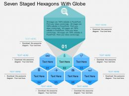 Seven Staged Hexagons With Globe Flat Powerpoint Design
