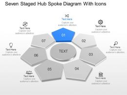 Seven Staged Hub Spoke Diagram With Icons Powerpoint Template Slide