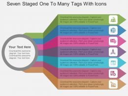 Seven Staged One To Many Tags With Icons Flat Powerpoint Design