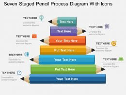Seven Staged Pencil Process Diagram With Icons Flat Powerpoint Design