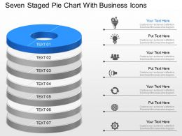 Seven Staged Pie Chart With Business Icons Powerpoint Template Slide